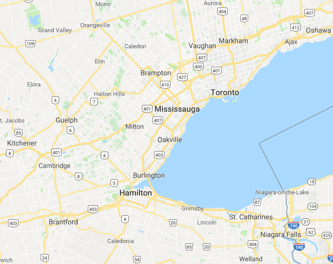 map of the Greater Toronto Area